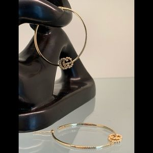Gucci 18k Yellow Gold GG Diamond Hoop Earrings